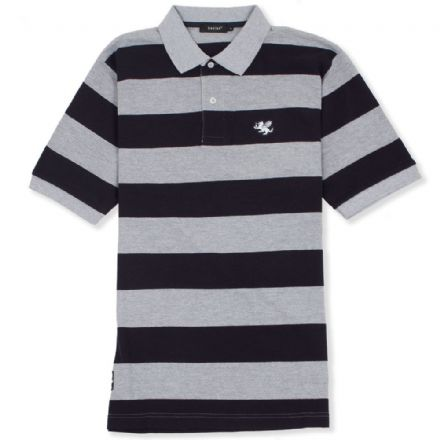 Senlak Striped Pique Polo Shirt - Navy/Grey